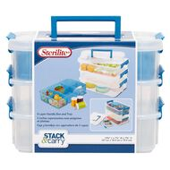 Sterilite Craft 3 Layer Handle Box & Tray Blue