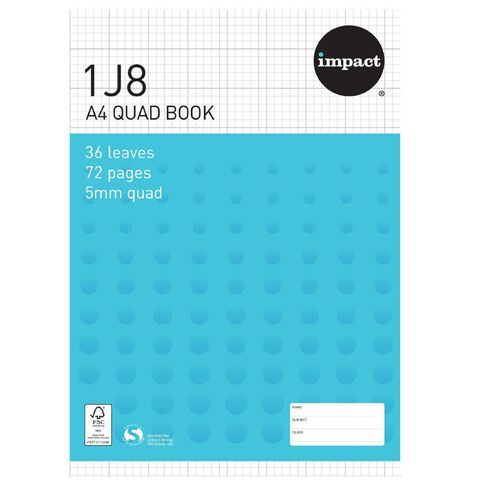 Impact Exercise Book 1J8 5mm Quad 36 Leaf