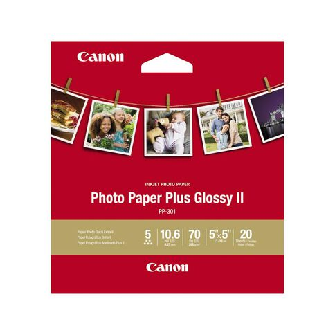 Canon Photo Paper Glossy Photo II 265gsm SQ5IN 20 Pack White