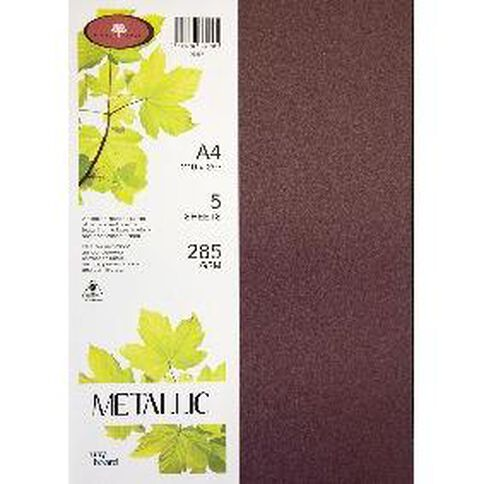 Metallic Board 285gsm 5 Pack Ruby A4
