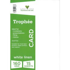 Trophee Card 160gsm 15 Pack Linen White A4