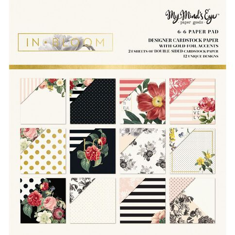 My Minds Eye Paper Pad 6X6 In Bloom Gold Foil Multi-Coloured