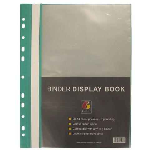 GBP Stationery Binder Display Book 20 Pocket Green A4