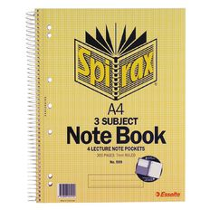 Spirax 3 Subject Book 7mm 150 Leaf Yellow A4
