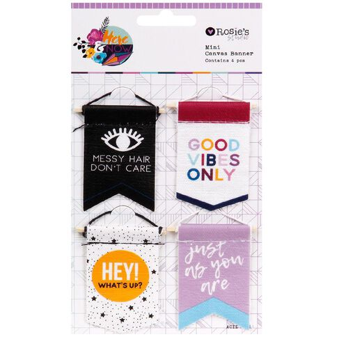 Rosie's Studio Here & Now Mini Canvas Banner 4 Pack