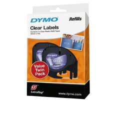 Dymo Letratag Plastic Labels 2 Pack Clear