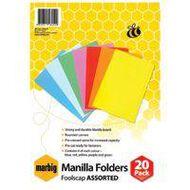 Marbig Manilla Folders Foolscap 20 Pack Assorted