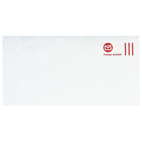 DLE Pack New Zealand Post Envelope Prepaid Non Window 100 Pack White