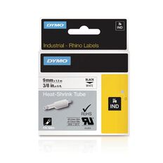 Dymo Industrial Heat Shrink Tube Labels 9mm Black/White
