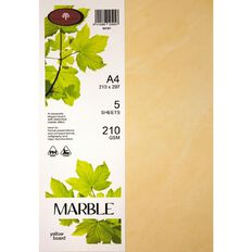 Marble Paper 210gsm 5 Pack Yellow A4