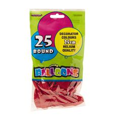Meteor Balloons Round Red 25cm 25 Pack Red