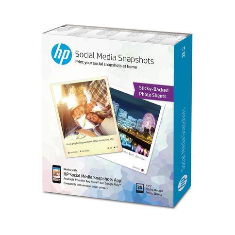 HP Social Media Snapshot Photo Paper 4 x 5 25 Pack White