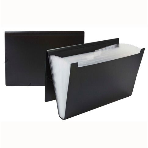 Impact Foolscap Expanding File PP 12 Pocket Black