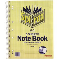 Spirax 5 Subject Notebook 596 250 Page 297mm x 220mm Yellow A4