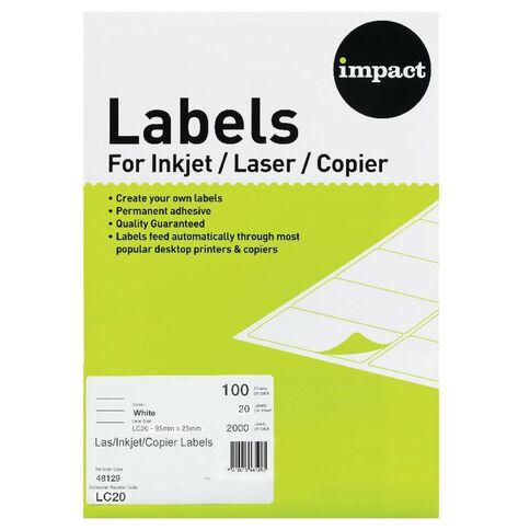 Impact Labels 100 A4/20 White