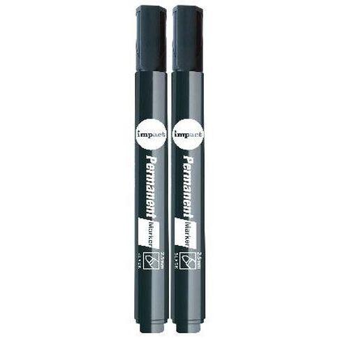 Impact Permanent Markers Bullet 2 Pack Black