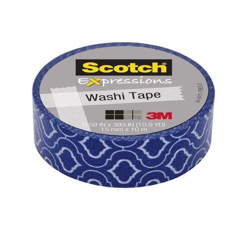 Scotch Washi Craft Tape 15mm x 10m Quatre Blue