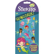 Peaceable Kingdom Stickers Glow In The Dark Mermaids & Friends