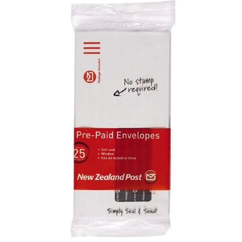 DLE Pack New Zealand Post Envelope Prepaid Window 25 Pack White