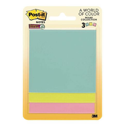 Post-It Super Sticky Notes 76mm Miami Collection 3 Pack