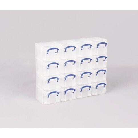 Really Useful Box Plastic Craft Organiser 16 Slot Clear