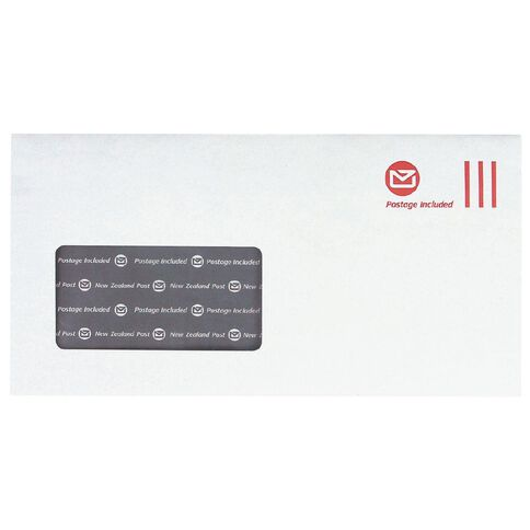 DLE Pack New Zealand Post Envelope Prepaid Window 100 Pack White