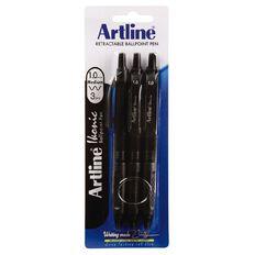Artline Ikonic 1.0mm Med Black 3 Pack