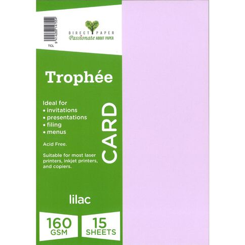 Trophee Card 160gsm 15 Pack Lilac Purple A4