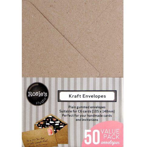 Rosies Studio Envelopes C6 50 Pack Kraft Brown