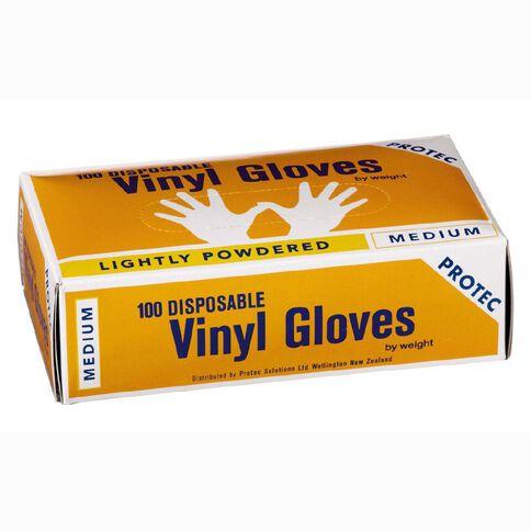Protec Gloves Vinyl Disposable Medium 100 Pack
