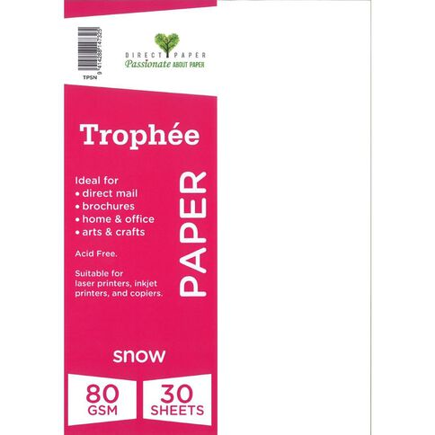 Trophee Paper 80gsm 30 Pack Snow White A4