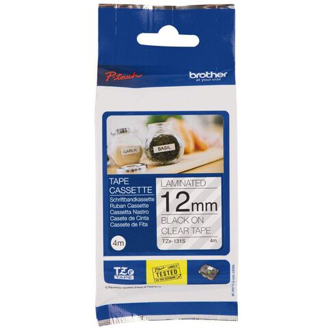 Brother Label Tape Tze131S 12mm 4m Black on Clear