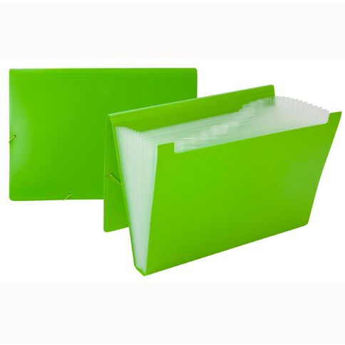 Impact Foolscap Expanding File PP 12 Pocket Green