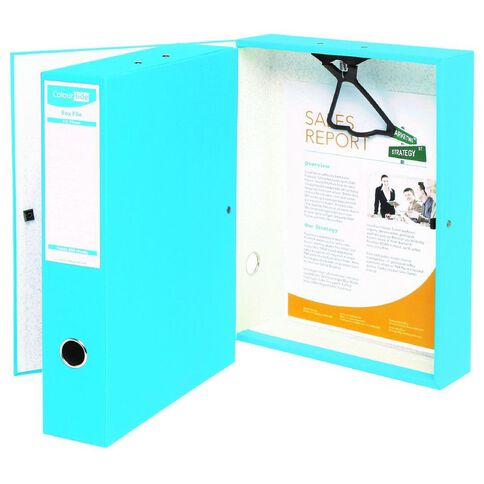 ColourHide Foolscap Linen Box File Blue