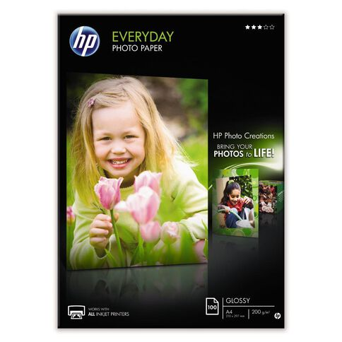 HP Photo Paper Q2510A Glossy 200gsm 100 Pack A4 White
