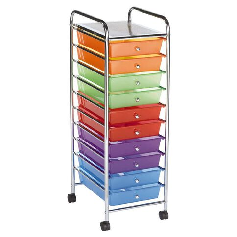 Jasper J Chrome Trolley 10 Drawer Brights Multi-Coloured