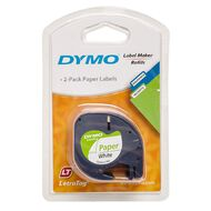 Dymo Letratag Paper Label Tape 12mm x 4m 2 Pack White