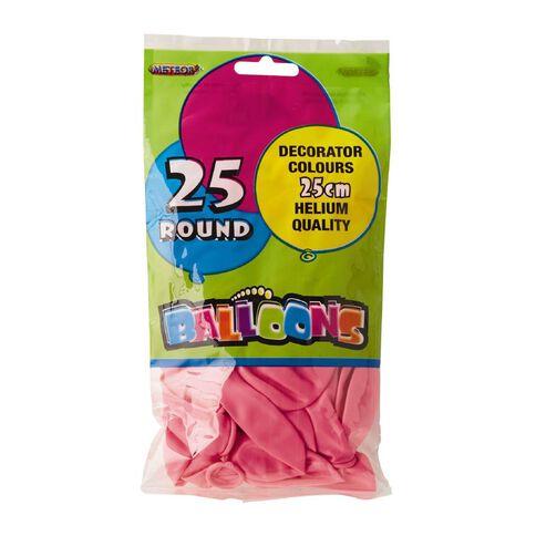 Meteor Balloons Round Pink 25cm 25 Pack Pink