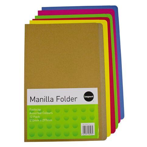 Impact Manilla Folders Foolscap 12 Pack Assorted
