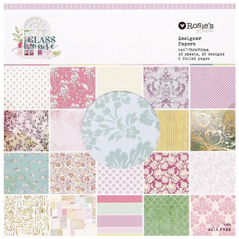 Rosie's Studio Glasshouse Designer Paper Pad 6in x 6in 40 Sheet