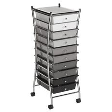 Jasper J Chrome Trolley 10 Drawer Grey