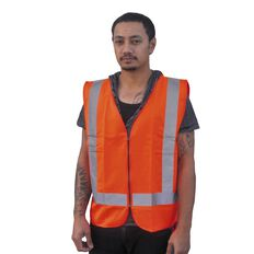 Orange Hi-Viz Day Night Safety Vest Front Zip Size Orange