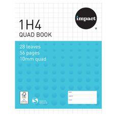 Exercise Book 1H4 10mm Quad 28 Leaf Blue
