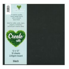 Create With Cardstock 220gsm 12 x 12 Smooth 10 Pack Black
