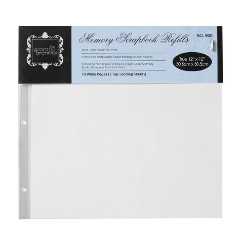 Grants Scrapbooking Album Refill Pages 12 x 12 10 Pack White