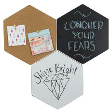 Uniti Hex Chalk & Cork Board