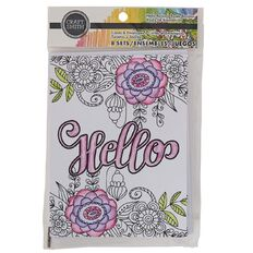 Craft Smith Colouring Card & Envelopes Hello Black & White White