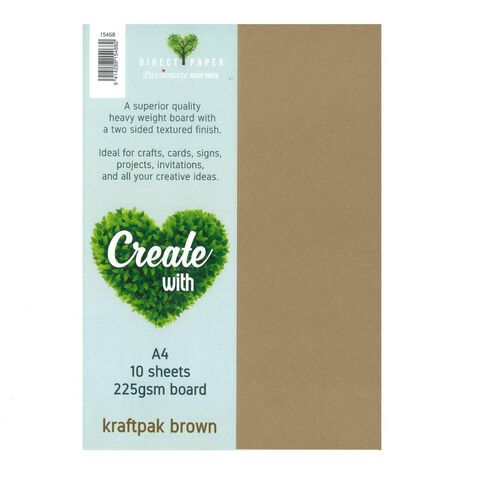 Create With Cardstock 225gsm Smooth 10 Pack Kraft White A4