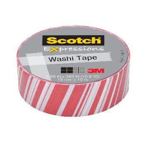 Scotch Washi Craft Tape 15mm x 10m Candy Stripes