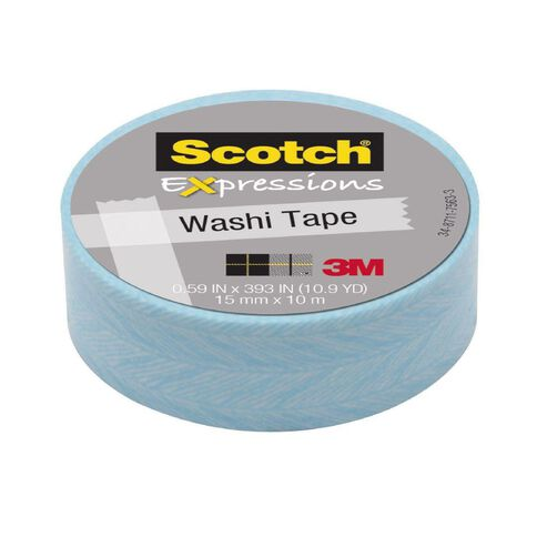 Scotch Washi Craft Tape 15mm x 10m Feather Blue